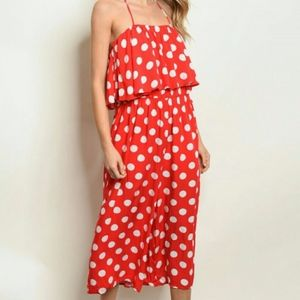 LOVE IN RED POLKA RUFFLE TOP HALTER JUMPSUIT